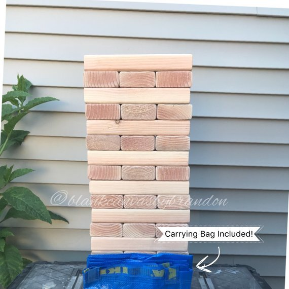 Jumbo Blocks Yard Game, Family Fun Game, Mega Tumbler Blocks, BBQ Games, Summer Party Yard Game, *Carrying Bag Included*