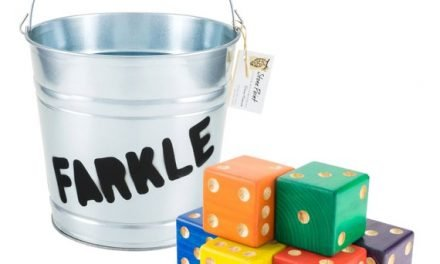 Yard Dice Set – 6 Rainbow Dice with Farkle Bucket