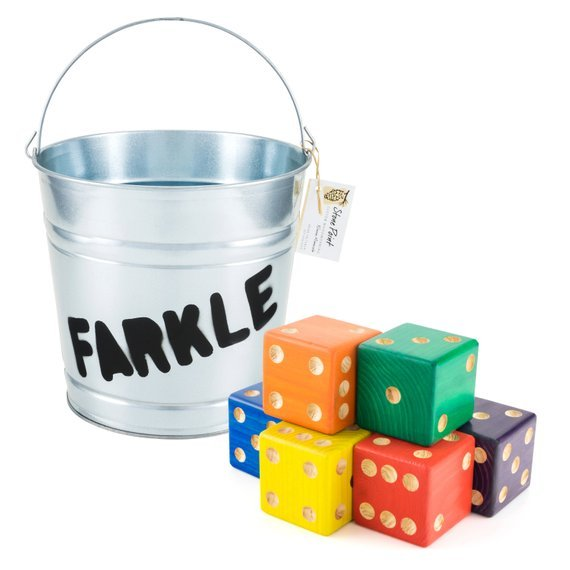 Yard Dice Set – 6 Rainbow Dice with Farkle Bucket
