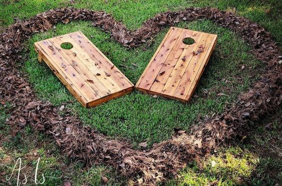 Solid Wood Cornhole Game, Wood Cornhole, Solid Wood Bean Bag Game, Baggo Games, Wedding Games, Rustic Game, Party Games, Men's Gift, Family