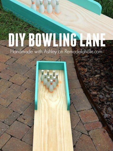 DIY indoor-outdoor bowling lane for kids play /Remodelaholic/ /ericdvd/ #WoodworkingProjectsBeginner