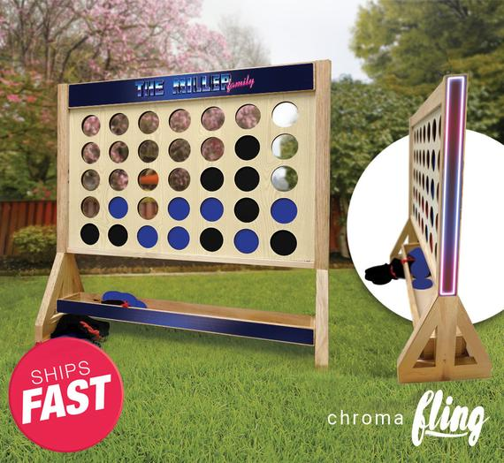 Electro Retro Family Personalized Giant Fast Four Game with Travel Bag – Giant Connect 4 – Outdoor Lawn Game – Indoor Game