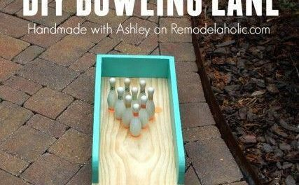 So fun! This indoor-outdoor bowling lane is great for a playroom or an outdoor yard game, too! #outdoorDecorations