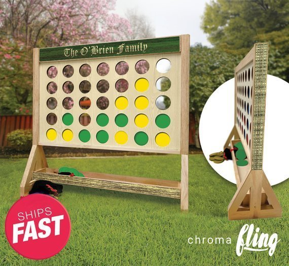 Irish Family Personalized Giant Fast Four Game with Travel Bag – Giant Connect 4 – Outdoor Lawn Game – Indoor Game