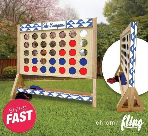 Personalized Family Blue Trendy Triangles Family Giant Fast Four Game with Travel Bag – Giant Connect 4 – Outdoor Lawn Game – Indoor Game