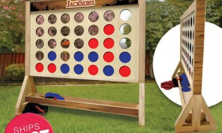 Rustic Personalized Family Giant Fast Four Game with Travel Bag – Giant Connect 4 – Outdoor Lawn Game – Indoor Game