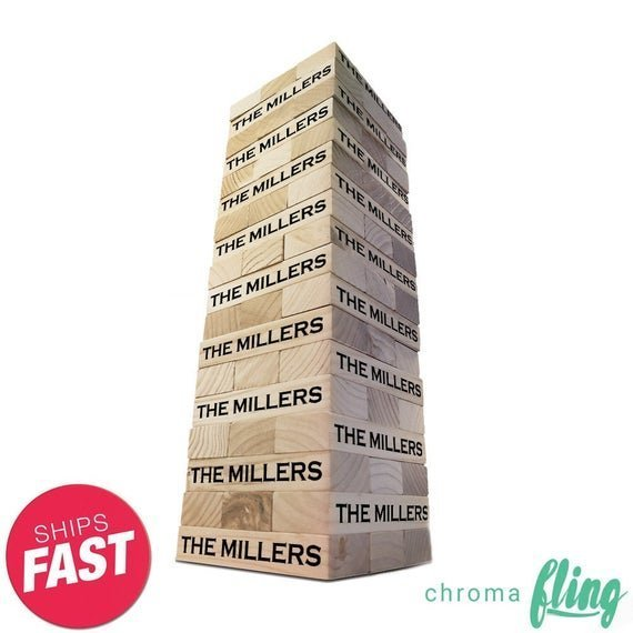 Personalized Bold Family Name Topple Tower – Giant Lawn Game – Giant Block Game – Yard Game – Outdoor Games – Indoor Games