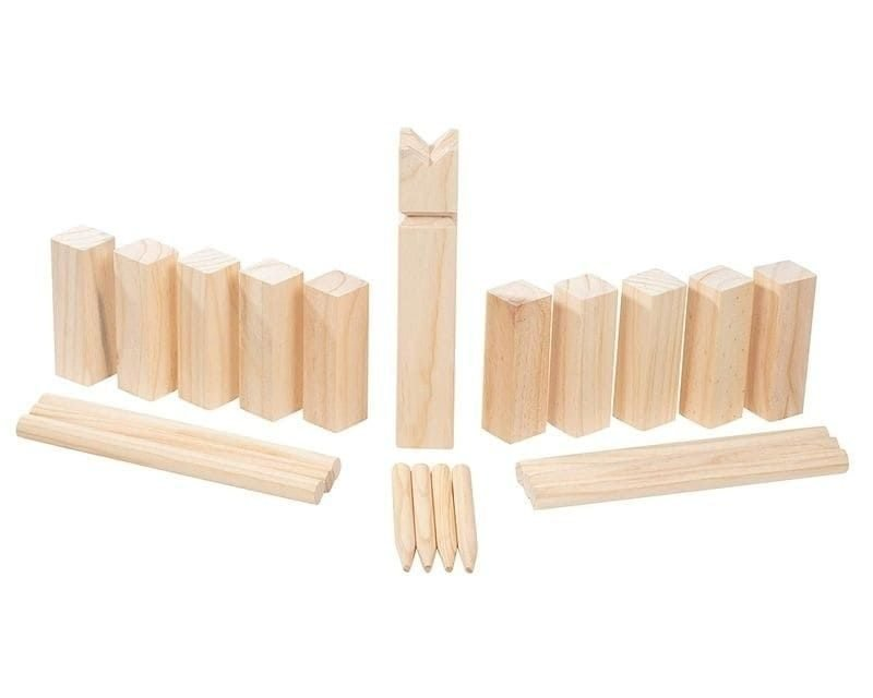 Kubb Game Set, 21-Piece Wooden Yard Game with Bag, Viking Chess, Combine Bowling, Green