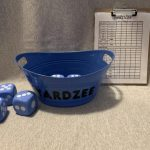YARDZEE- outdoor or indoor dice game, foam dice, gentle for kids, score card, marker, clipboard, and bucket all included