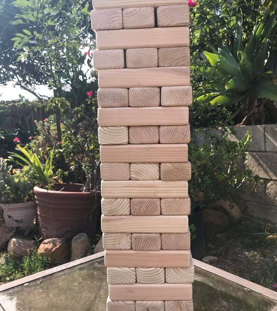 Giant Game Blocks Tumbling Wood Tower Play up to 6ft, indoor outdoor Christmas gift 54 blocks, 18lvl family brother kids party teenager enga