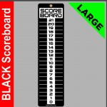 Large Indoor/Outdoor Black Corn hole/bean bag toss score keeper with colored clips.