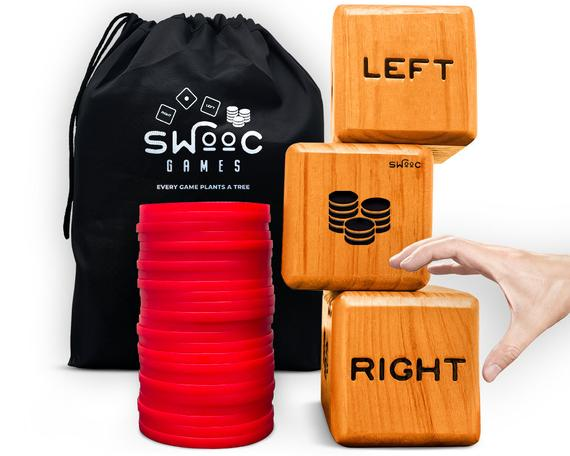Giant Right Center Left Dice Game (All Weather) with 24 Large Chips & Carry Bag – Jumbo Wooden Lawn Game – Big Backyard Game for Family