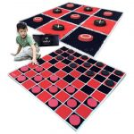 "2-in-1 Vintage Giant Checkers & Tic Tac Toe Game With Mat ( 4ft x 4ft ) – 100% Machine-Washable Canvas With 5"" Big Foam Discs"