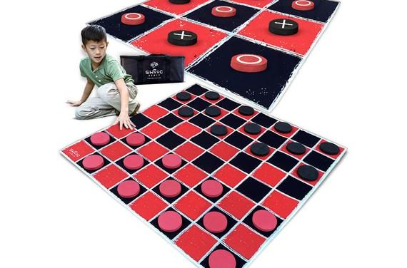 """2-in-1 Vintage Giant Checkers & Tic Tac Toe Game With Mat ( 4ft x 4ft ) – 100% Machine-Washable Canvas With 5"""" Big Foam Discs"""