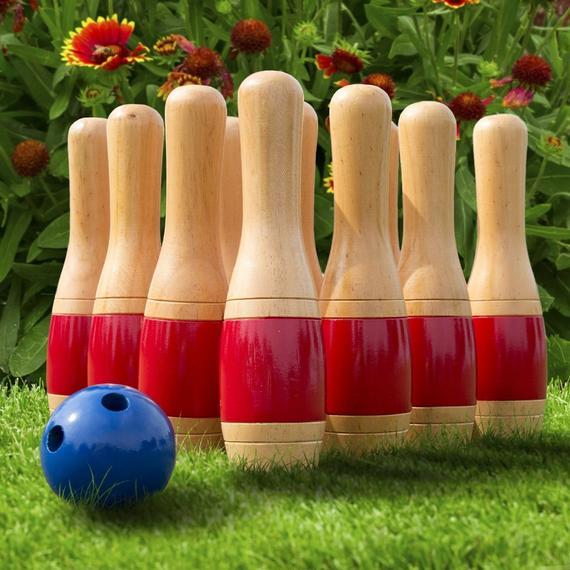 Lawn Bowling Set 11 Inch Wooden Easy Fun Game with Mesh Bag Backyard Enjoy Family Outdoor Game Home Yard Beach