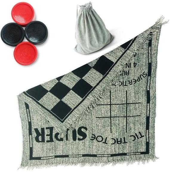 Family Outdoor Games 3 in 1 Checkers and Tic Tac Toe Game with Reversible Rug,Indoor Board Games Yard Games for Adults,Uniqe Gift for Kids