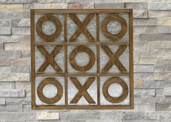 Large Magnetic Tic-Tac-Toe Board Game!  18 Inch Square Wall Hanging Tic Tac Toe Game! Personalization Available!