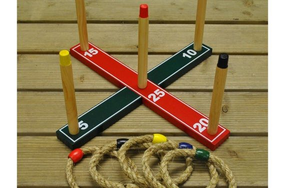 Quoits Garden Ring Toss Game – Traditional Wooden Lawn Outdoor Game – Family Friends Outdoor Game