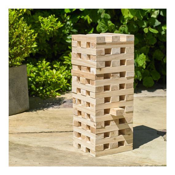 60 Blocks Giant Wood Tumbling Tower – Jenga Tumbling Tower Lawn Game – Outdoor Family Garden Game