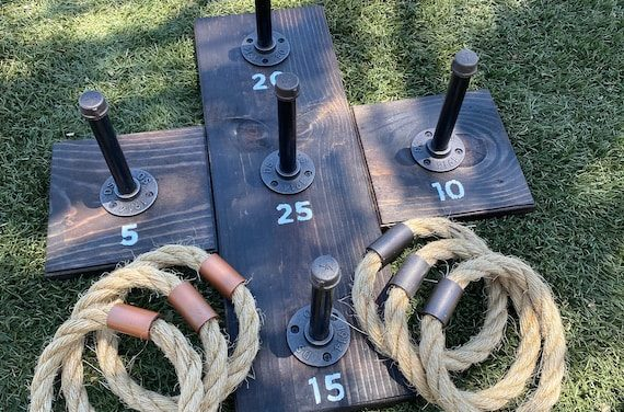 Rustic Industrial Rope Ring Toss Throw Game includes 6 Rings for outdoor lawn/ beach/ yard/ home/indoor